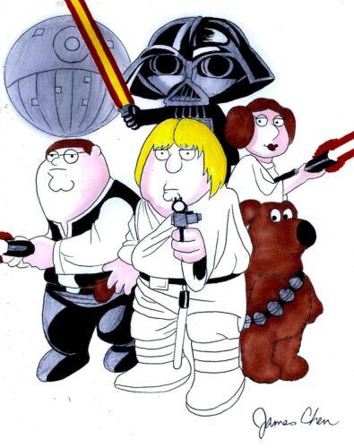 FAMILY GUY STAR WARS STEWIE DARTH VADER ORIGINAL COMIC ART ON CARD STOCK