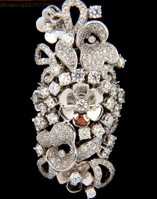 $22000 4.00ct Natural Brilliant Diamonds Floral Cocktail Vine 3d Deco Ring 18kt