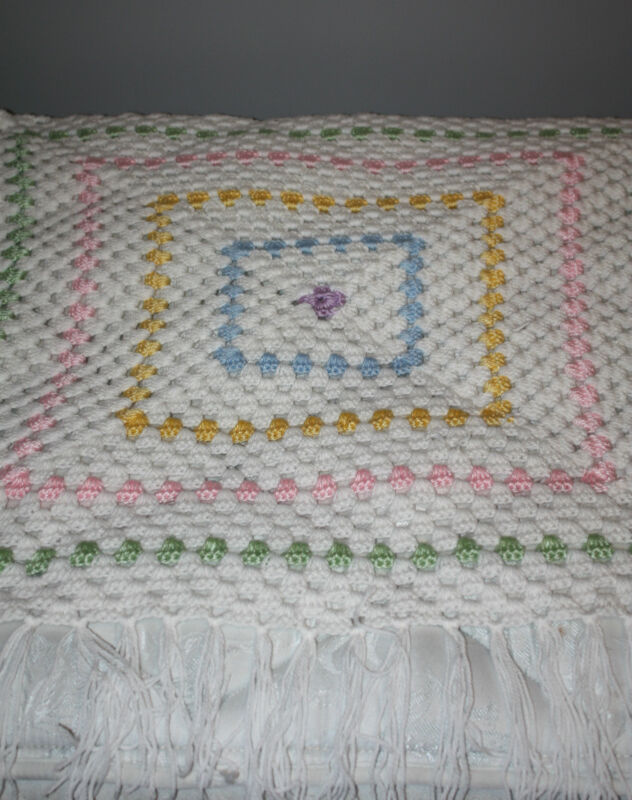 "Hand Crocheted White Multi-Colored Pastels Fringed Baby Afghan 35"" x 32"""