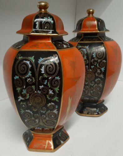 Pair Antique Kakiemon Stoke on Trent Carlton Ware Temple Jars. Simply Gorgeous!