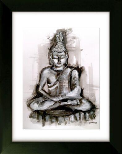 Made to Order - Original ART Framed - the Path - Buddha - Art by SLAZO - 16x20