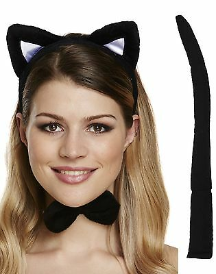 Damen Schwarze Katze Tier Hen Party Halloween Kostüm Kleid Outfit Satz