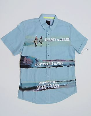 BAR III Men Short Sleeve Casual Shirts Light Capri NEW NWT $49.50