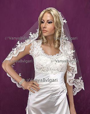 WEDDING MANTILLA SPANISH VEIL WITH BEADED LACE FOR CATHOLIC WEDDING IN IVORY