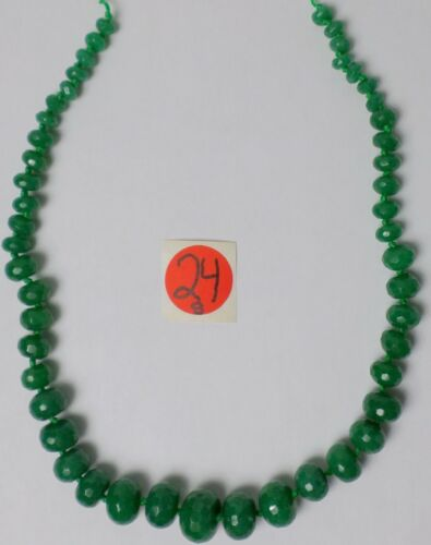 """19"""" Strand Faceted Emerald Green Jade Knotted Graduated Rondelle Beads 8-18mm"""