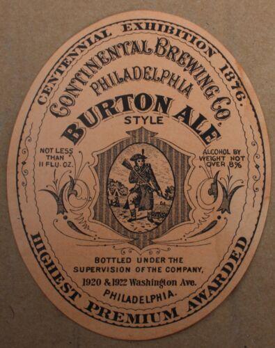 Vintage CONTINENTAL BREWING COMPANY, PA, Burton Style Ale Label