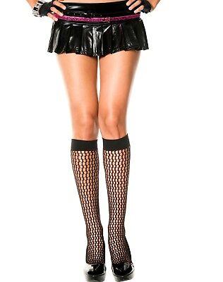 Knee High Crochet Fishnet Style Stockings Goth Halloween Black Trouser Socks  - Halloween Knee High Socks