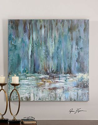 Impressionist Waterfall Oil Painting   Square Blue Wall Art Pastel