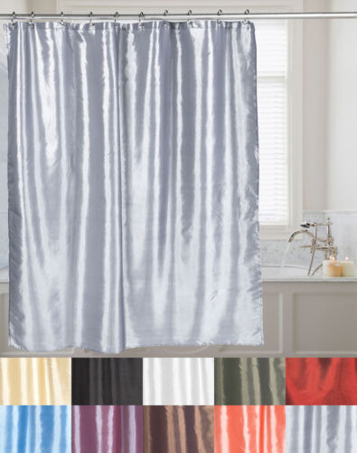 Faux Silk Shimmer Polyester Fabric Bath Shower Curtain 70″x72″ 10 Color Choices Bath