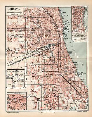 Union Stockyards (CHICAGO Union Stockyards Washington Park City Map   Stadtplan von 1894)
