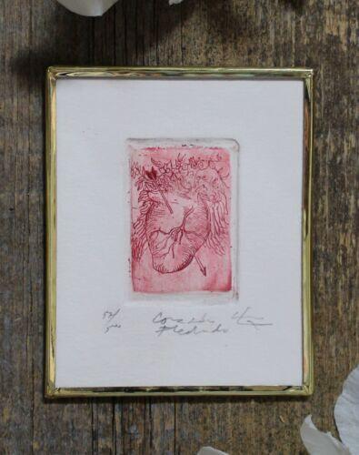 Love Token Heart & Arrow Framed Tiny Print Mexican Folk Art by Genaro Abelar