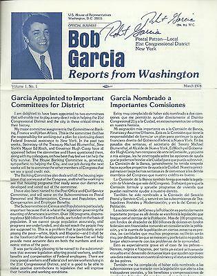 Robert Garcia - U.S. Representative Original Signed 1978 Newsletter with Letter