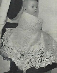 Baby Vintage Heirloom Shawl Knitting Pattern  Circular 2ply 758