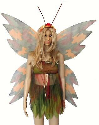 Disguise Halloween Costume Camo Butterfly Skirt Top Wings Antennae Size 7-10
