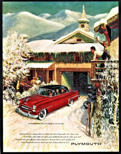 1953 PLYMOUTH Belvedere 2-door Hardtop Car AD Ski Lodge Skiers Skiing