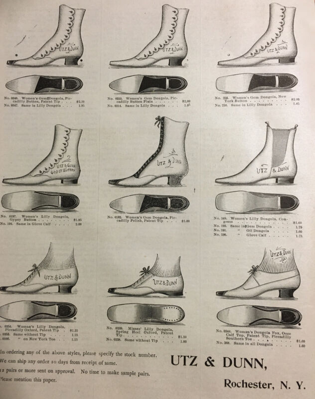 Antique 1892 Shoe Advertising UTZ & DUNN Rochester NY Great Graphics