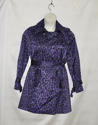 Joan Rivers Animal Print Belted Trench coat Size S Purple - Purple Trench Coat