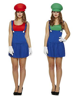 Damen Erwachsene Super Klempner Bros 80er Jahre Videospiel Kostüm