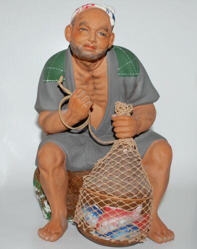 Rare Vintage Japanese Hakata Urasaki Doll Fisherman with Net Full of Fish