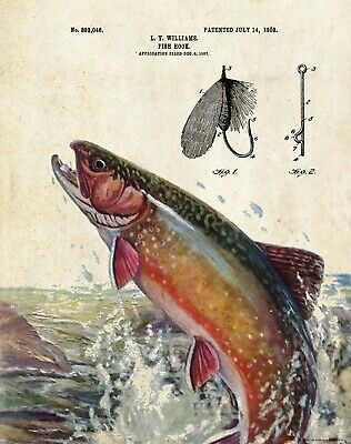Vintage Fly Fishing Lure Patent Art Print Brook Trout Fish Decor Club PAT464 - Club Decorations