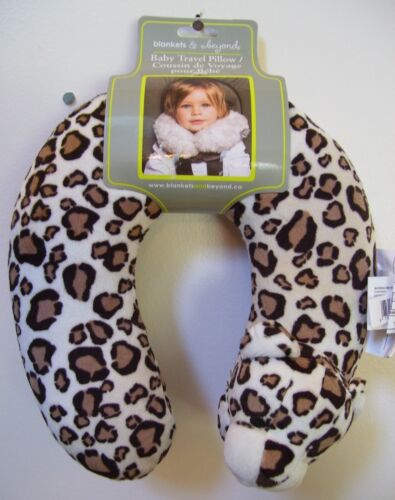 Girls Boys Blankets & Beyond Brown White Ivory Leopard Baby Travel Neck Pillow
