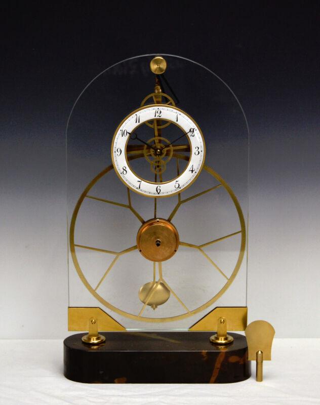 French Style Thin Glass Pinwheel Escapement Big Wheel Marble Base Skeleton Clock