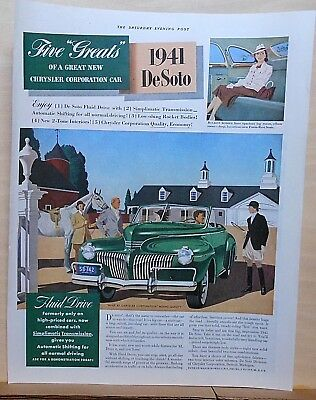 1940 magazine ad for DeSoto - 1941 green convertible at stable, horse & riders