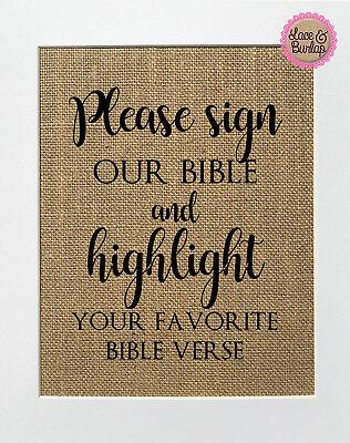 Burlap Signs (Please Sign Our Bible / Burlap Print Sign UNFRAMED / Rustic Wedding Decor)