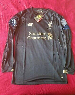 Liverpool 2019/20 Goalkeeper Black Long Sleeve Jersey Champions League Black Goalie Jersey