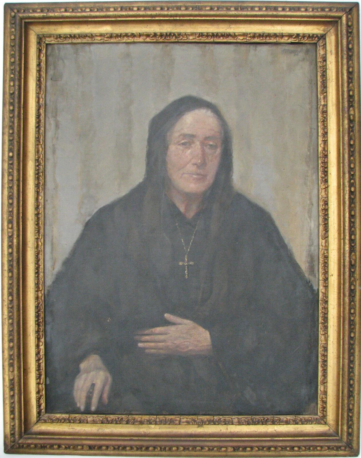 Francesco MARGOTTI (Torino 1868 - Tortona 1946) Santa vecchiaia cm 92x69 1928