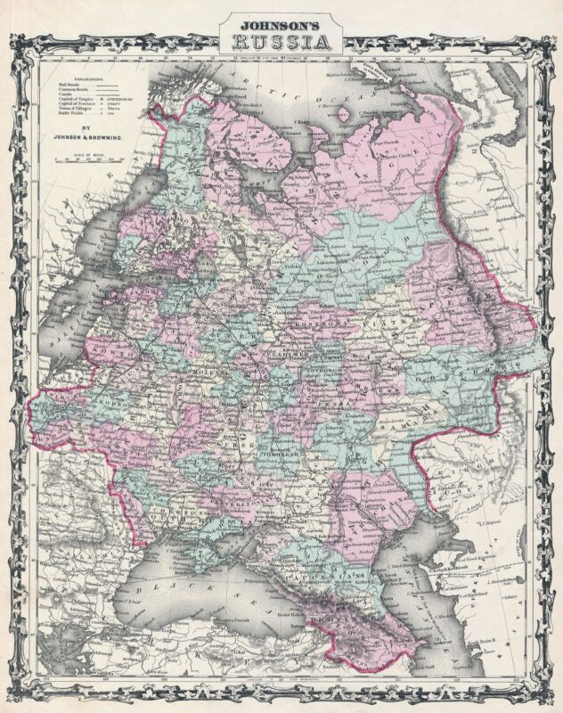 1861 Johnson Map of Russia