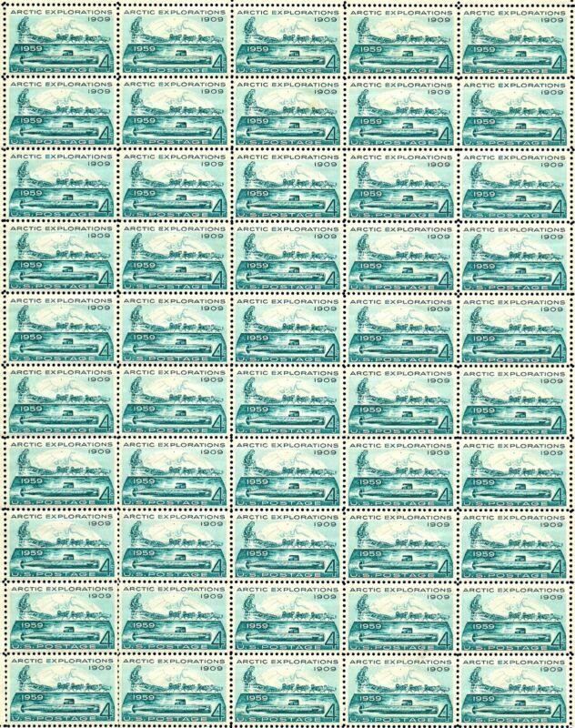 1959 - Arctic Explorations - Vintage Full Mint Sheet Of 50 U.s. Postage Stamps