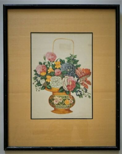 ANTIQUE CHINESE WATERCOLOR ON PITH PAPER, CERTIFICATE OF AUTHENTICITY, C 1800