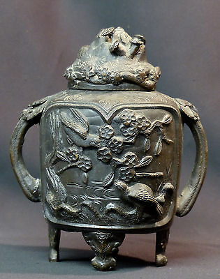 19èm chine remarquable pot couvert urne bronze 1.8kg21c cerisier oiseau relief