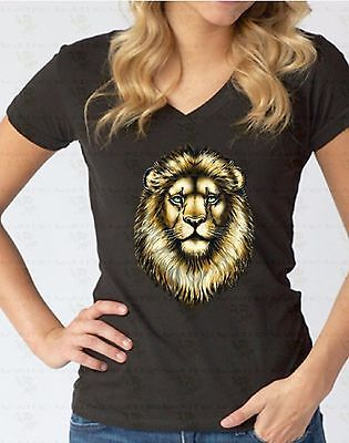 - Lion Face V-NECK WOMEN T-Shirt Animal Lover Gift Pet Head Tee Cool Ladies Shirt