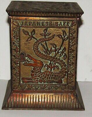 1880's Rare Cast Iron Kyser & Rex Japanese Safe Still Coin Bank, Has patina