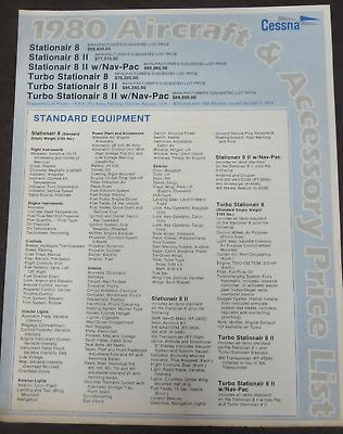 1980 Models Cessna Stationair & Turbo w/ Nav-Pac Aircraft & Accessory List Price