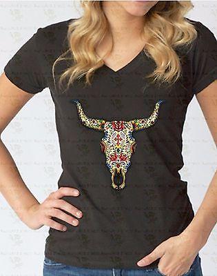 Day Of the Dead Bull Skull V-NECK WOMEN T-Shirt Skeleton Horns Death Tee Shirt - Women Day Of The Dead