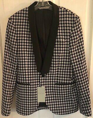 ZARA Men's Houndstooth Blazer / Jacket Black & White Size 38