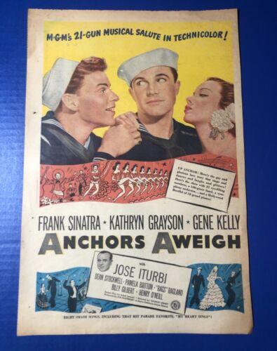 "1945 Anchors Aweigh print ad starring Frank Sinatra/Kathryn Grayson 15.5x10.5"""