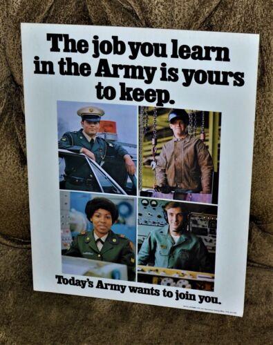 VTG 1972 U.S. Army Recruitment Poster Vietnam War Era Easel NOS Job You Learn