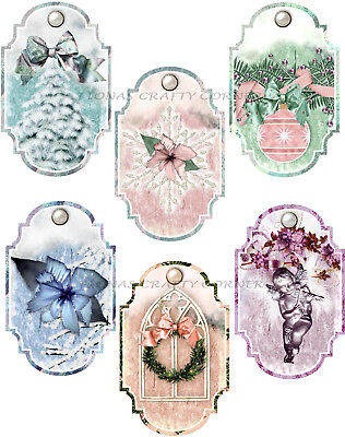Angel Ornaments For Christmas Tree (12 CHRISTMAS TREE ORNAMENTS SNOW ANGEL HANG / GIFT TAGS FOR SCRAPBOOK PAGES)