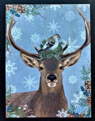 Deer Bird Nest Snowflakes Christmas Postcards SET Of 4 Cards Wildlife Reindeer