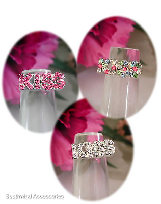 Word KISS Toe Ring On Stretch Band Your Choice In Color Of Crystals Rare