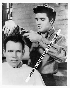 ELVIS-PRESLEY-giving-a-haircut-RARE-Film-Set-Candid-JAILHOUSE-ROCK-Photo