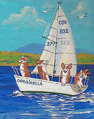PRINT OF PAINTING PEMBROKE WELSH CORGI RYTA SEASCAPE BEACH YACHT NAUTICAL DOGS