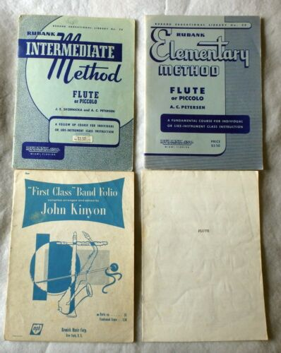 (4) Flute / Piccolo student workbook, songbooks, Rubank, Kinyon
