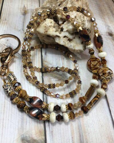 Handmade Agate Sandstone Eyeglass Chain/Mask/Lanyard/W/Swarovski Element USA