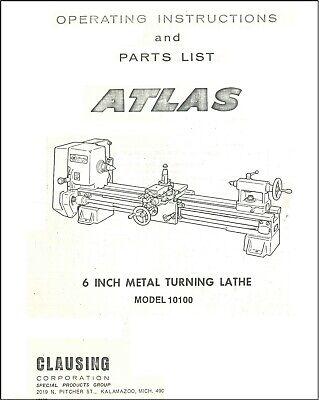 Atlas-clausing 6 Metal Lathe 10100 Service Manual Parts Lists Schematics On Cd