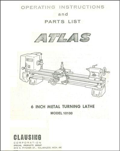 Atlas-Clausing 6 Metal Lathe 10100 Service Manual Parts Lists Schematics